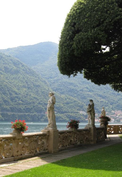 Terrace, sculptures and jardinieres