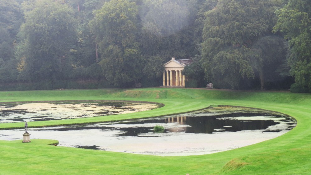 Studley Royal – temple of Piety and Moon and Crescent Ponds