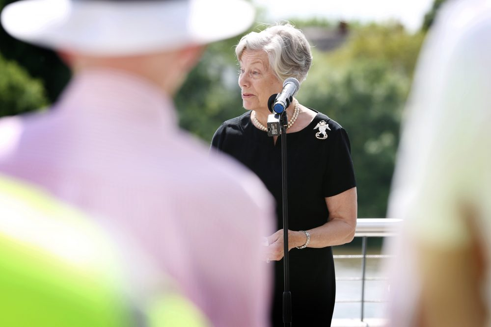 Gilly Drummond OBE DL, Chairman of the Capability Brown Festival speaking at the unveiling of the statue to Capability Brown